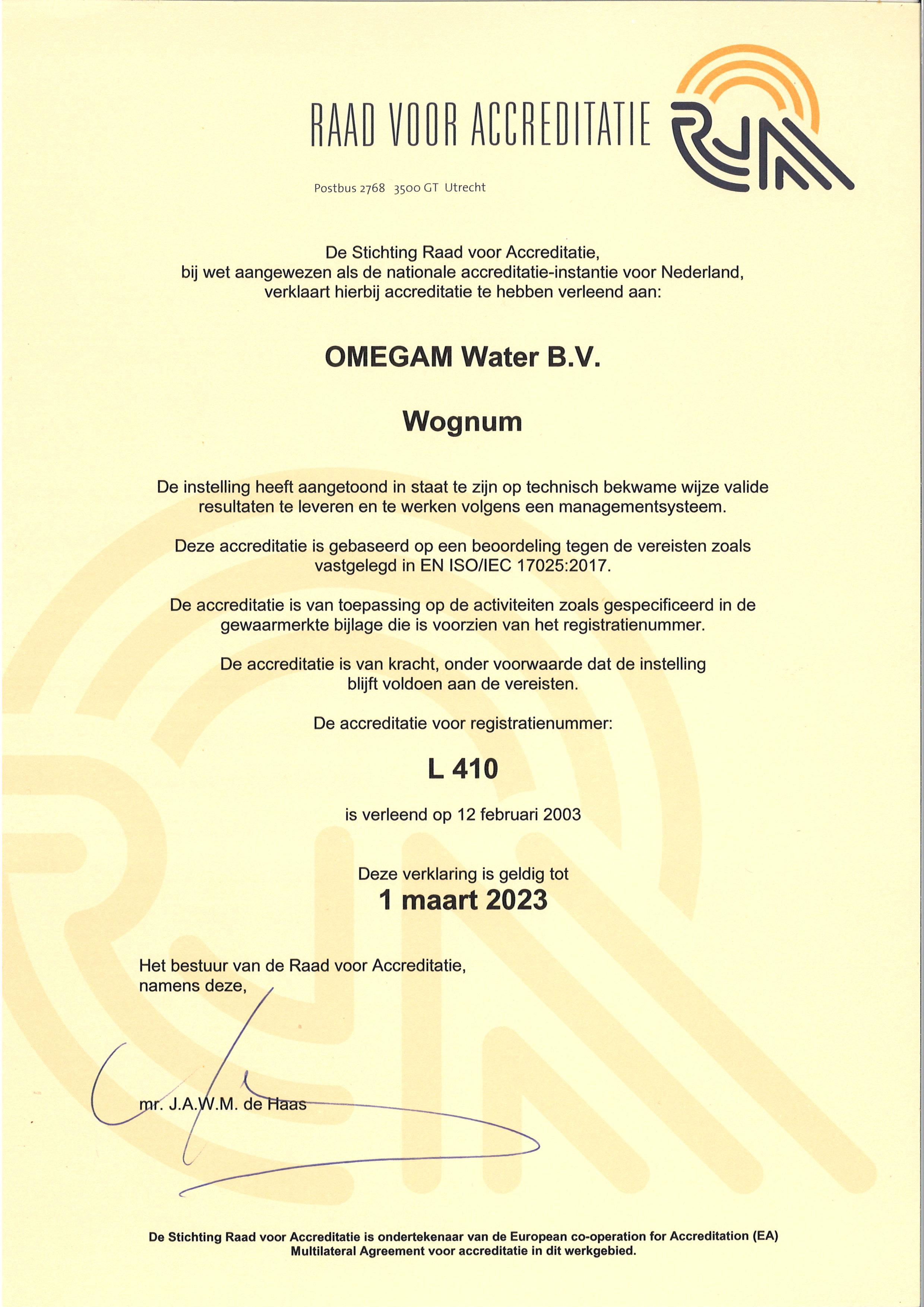 RvA Certificaat L410 OMEGAM-Water bv geldig tot 2023-03-01 A4 formaat